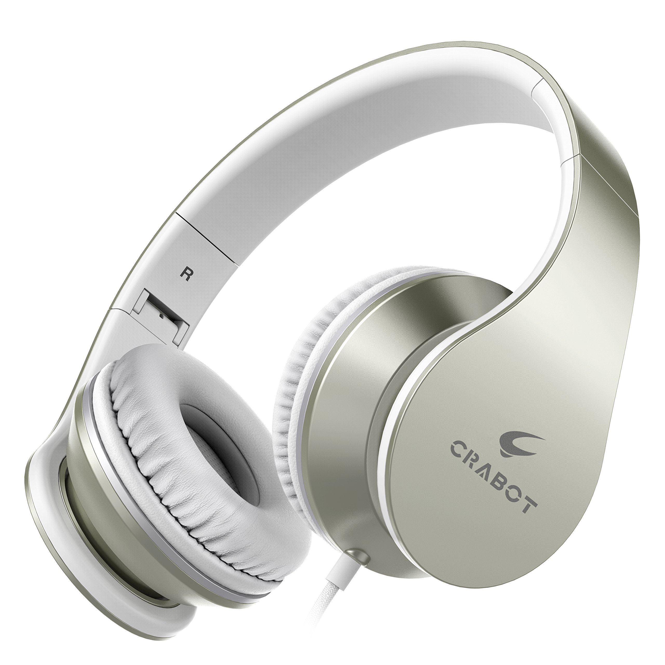 Headphones, Crabot I65 On-Ear Stereo Sound Bass Wired Portable Foldable Headsets with Microphone and Volume Control for iPhone iPad Android Smartphones Laptop Tablet for Kids or Adults(Champagne gold)