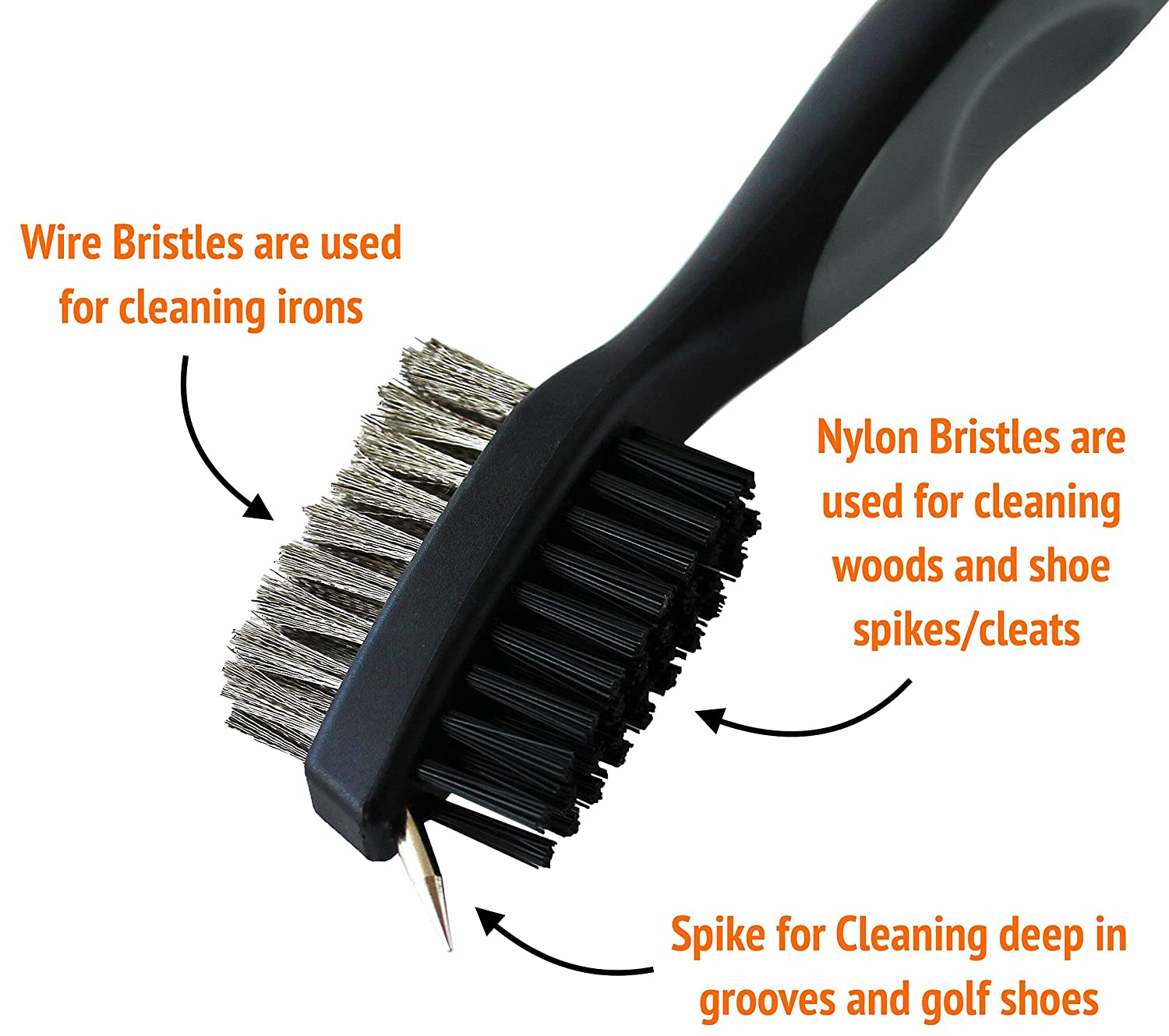 Voplop Golf Brush and Club Groove Cleaner - Easily Attaches to Golf Bag -  Deep Clean Iron Grooves - Cleaning Club Face - Bag Clip & Retractable