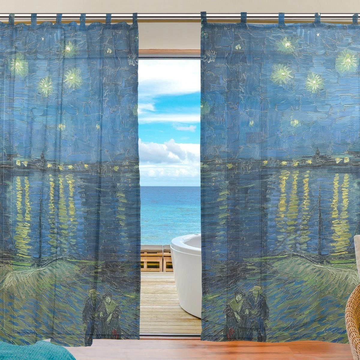 INGBAGS Bedroom Decor Living Room Decorations Van Gogh Star Pattern Print Tulle Polyester Door Window Gauze Sheer Curtain Drape Two Panels Set 55×78 inch,Set of 2