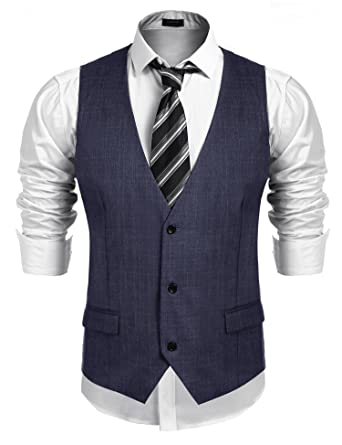 COOFANDY Men\'s Business Suit Vest, Slim Fit Skinny Wedding Waistcoat ...