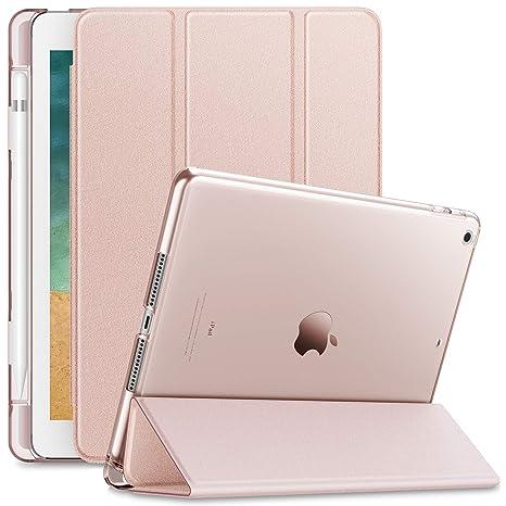 Infiland iPad 9.7 2018 Hülle Case mit Pencil Halter, Superleicht Transluzent Smart Schutzhülle Case mit Auto Schlaf/Wach Funk