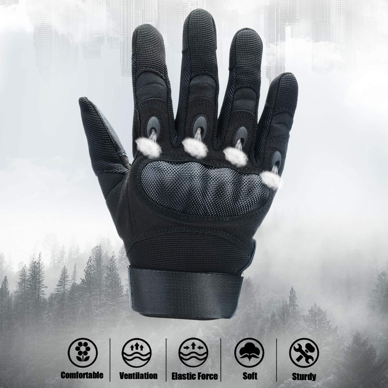 Xnuoyo Caoutchouc Hard Knuckle Doigt Complet et Demi Doigt Gants Gants de Protection /Écran Tactile Gants pour Moto V/élo Chasse Escalade Camping