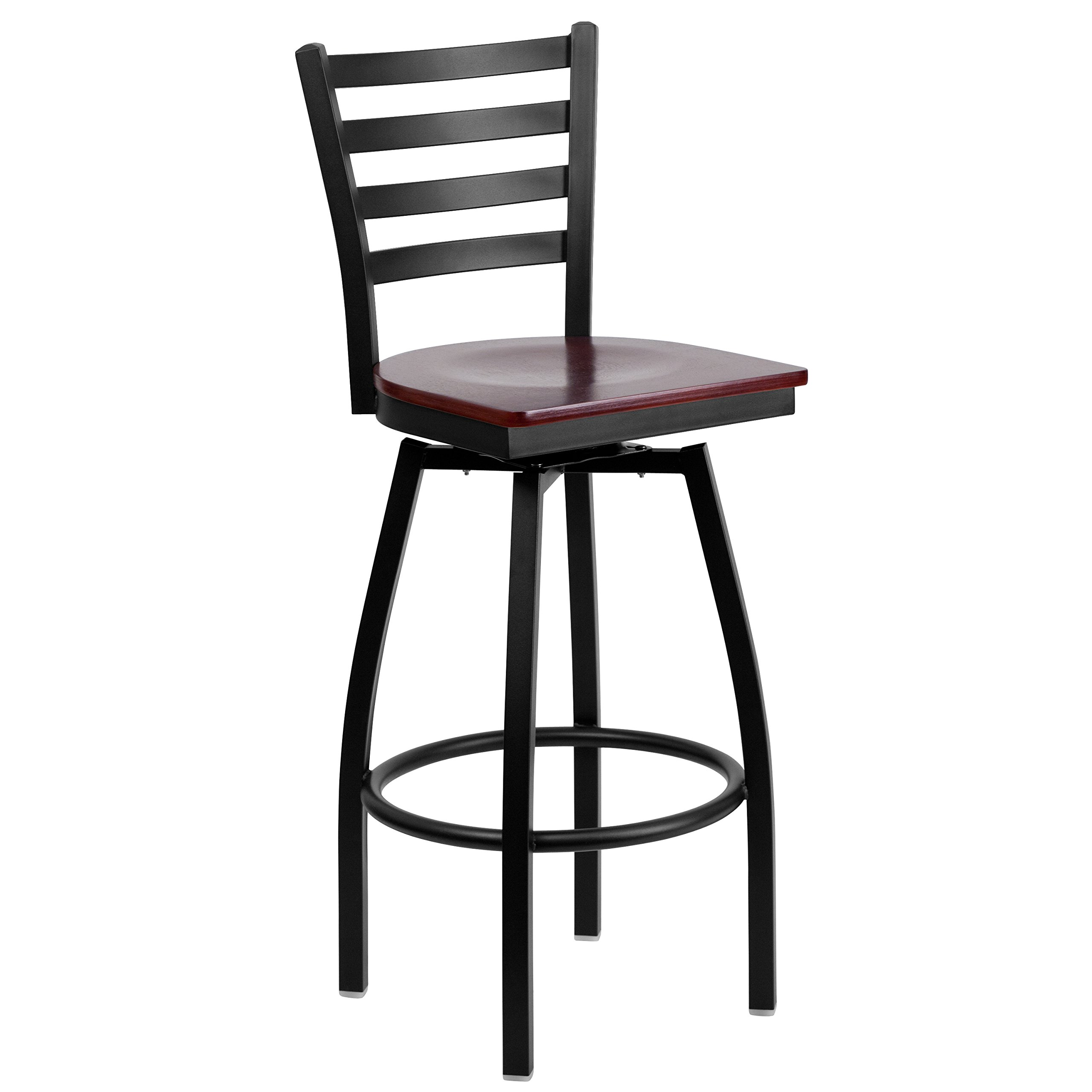 Flash Furniture HERCULES Series Black Ladder Back Swivel Metal Barstool - Mahogany Wood Seat