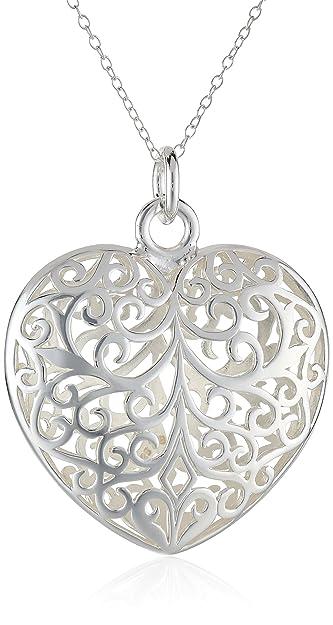 Amazon sterling silver filigree puffed heart pendant necklace sterling silver filigree puffed heart pendant necklace 18quot aloadofball Image collections