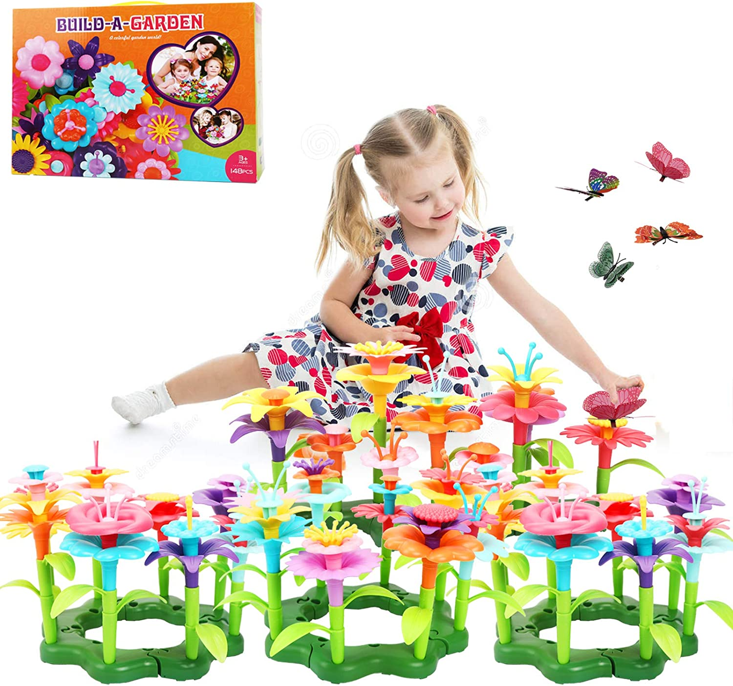 Jogotoll Flower Garden Building Toys Build a Bouquet STEM Educational Toy Boys Girls Birthday Gifts for 3 4 5 6 7 Year Old , 148PCS Flower Set and 12PCS Simulation Butterfly Included