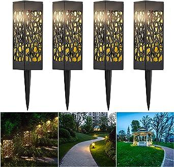 CPROSP 4 PCS Luz Solar De Jardín LED Lámparas Solares para Jardín Exterior Decorativas Iluminación de Caminos para Camino Patio Césped Pasillo, Blanca Cálida: Amazon.es: Iluminación