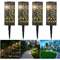 CPROSP 4 PCS Luz Solar De Jardín LED Lámparas Solares para Jardín Exterior Decorativas Iluminación de Caminos para Camino Patio Césped Pasillo, Blanca Cálida