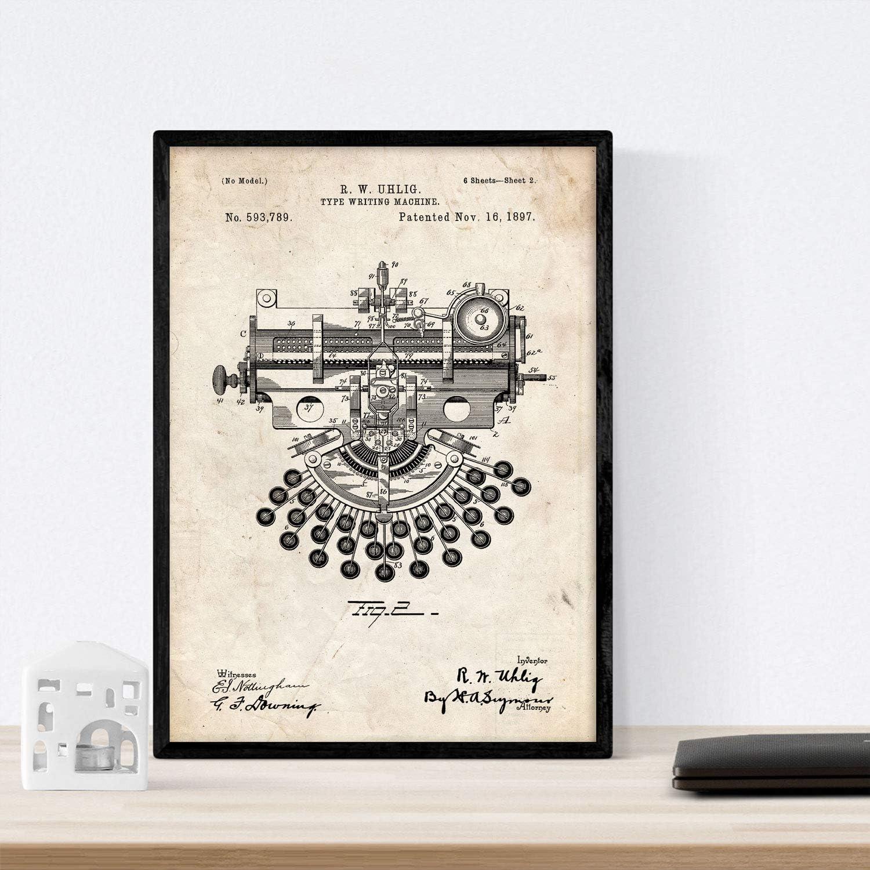 Nacnic Poster con Patente de Maquina de Escribir 4. Lámina con ...