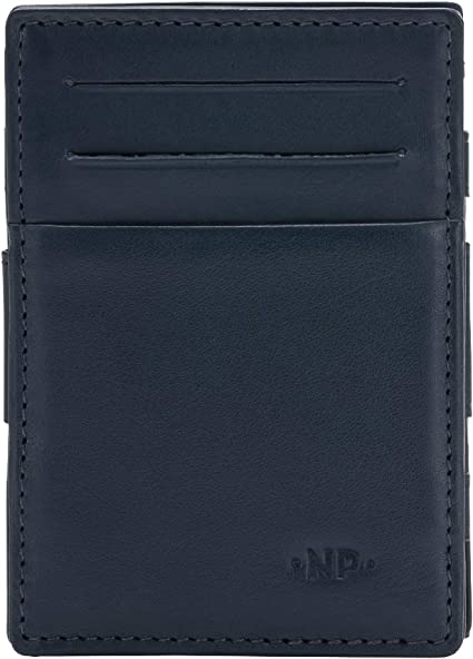 Nuvola Pelle Money Clip Wallet for Men in Genuine Leather with Coin Pocket and Credit Card slots Dark Brown