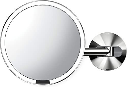 simplehuman Wall Mount-5x Magnification Sensor Makeup Mirror, 20 cm, Polished Stainless Steel