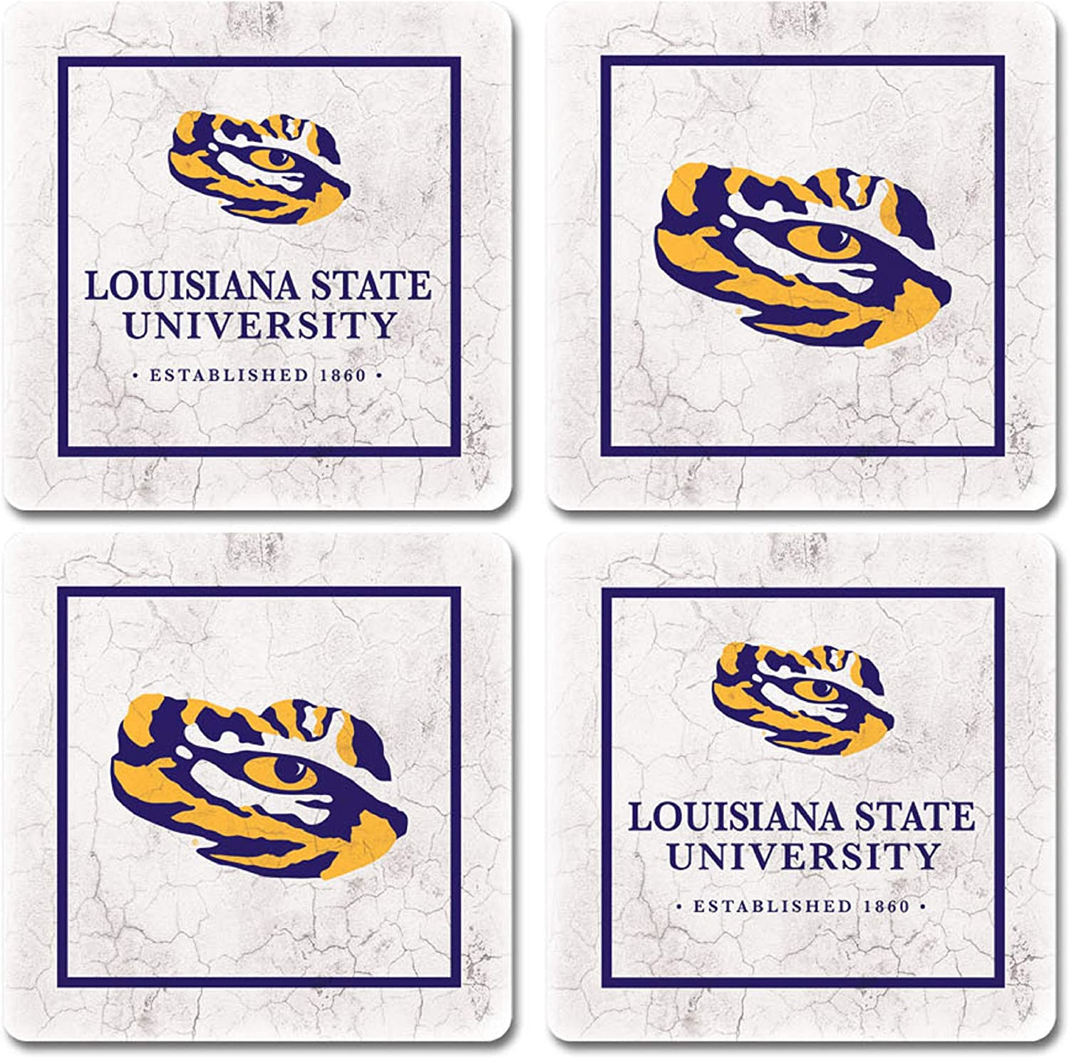 Sandstone NCAA Legacy Lsu Tigers Thirsty Car Coaster 2-Pack One Size