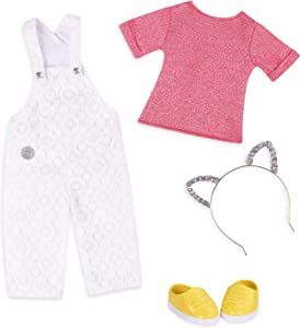 """Glitter Girls by Battat – Glisten & Glam - Lace Overalls & Cat Ear Deluxe Outfit - 14"""" Doll Clothes– Toys, Clothes & Accessories For Girls 3-Year-Old & Up"""