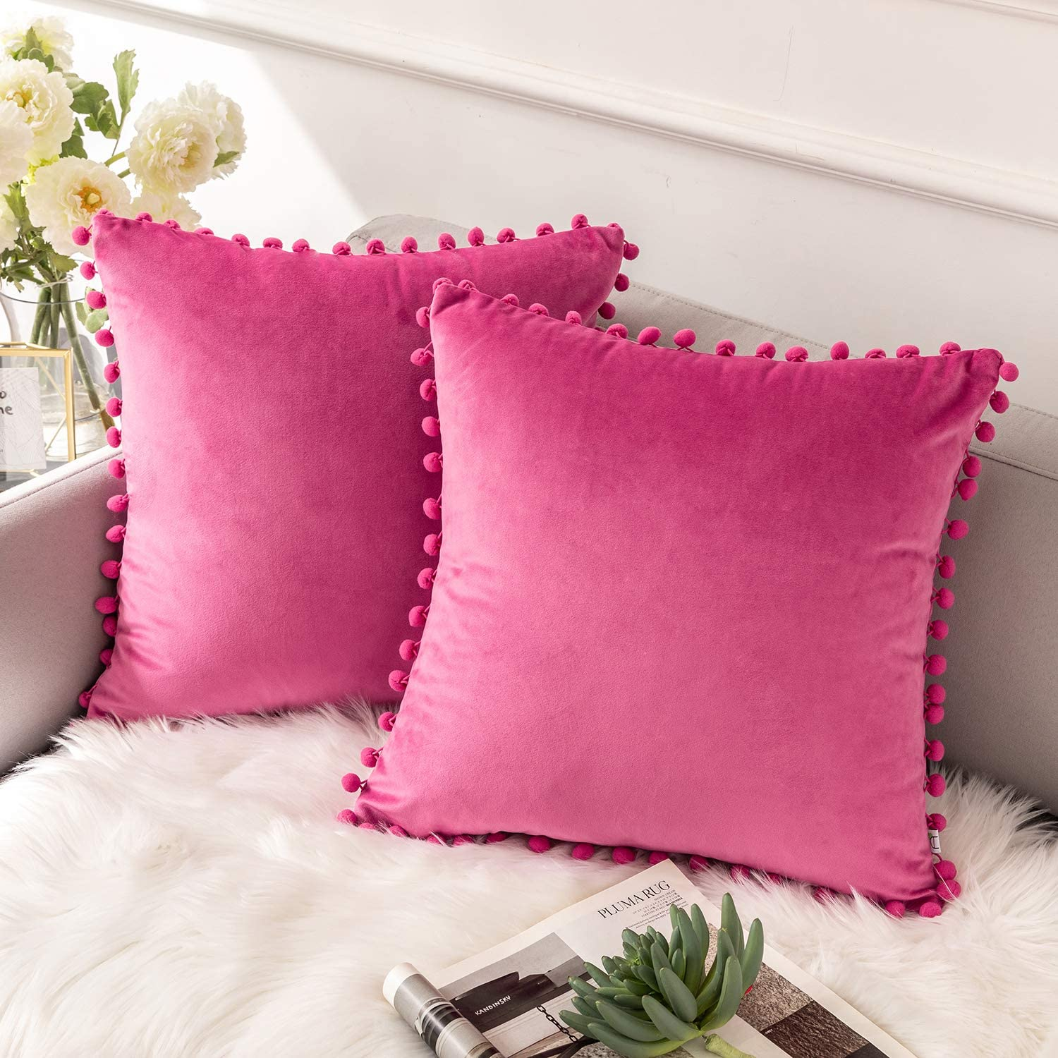 Ashler Decorative Throw Pillow Covers with Pom Poms Soft Particles Velvet Solid Cushion Covers 18 X 18 for Couch Bedroom Car, Pack of 2, Pink