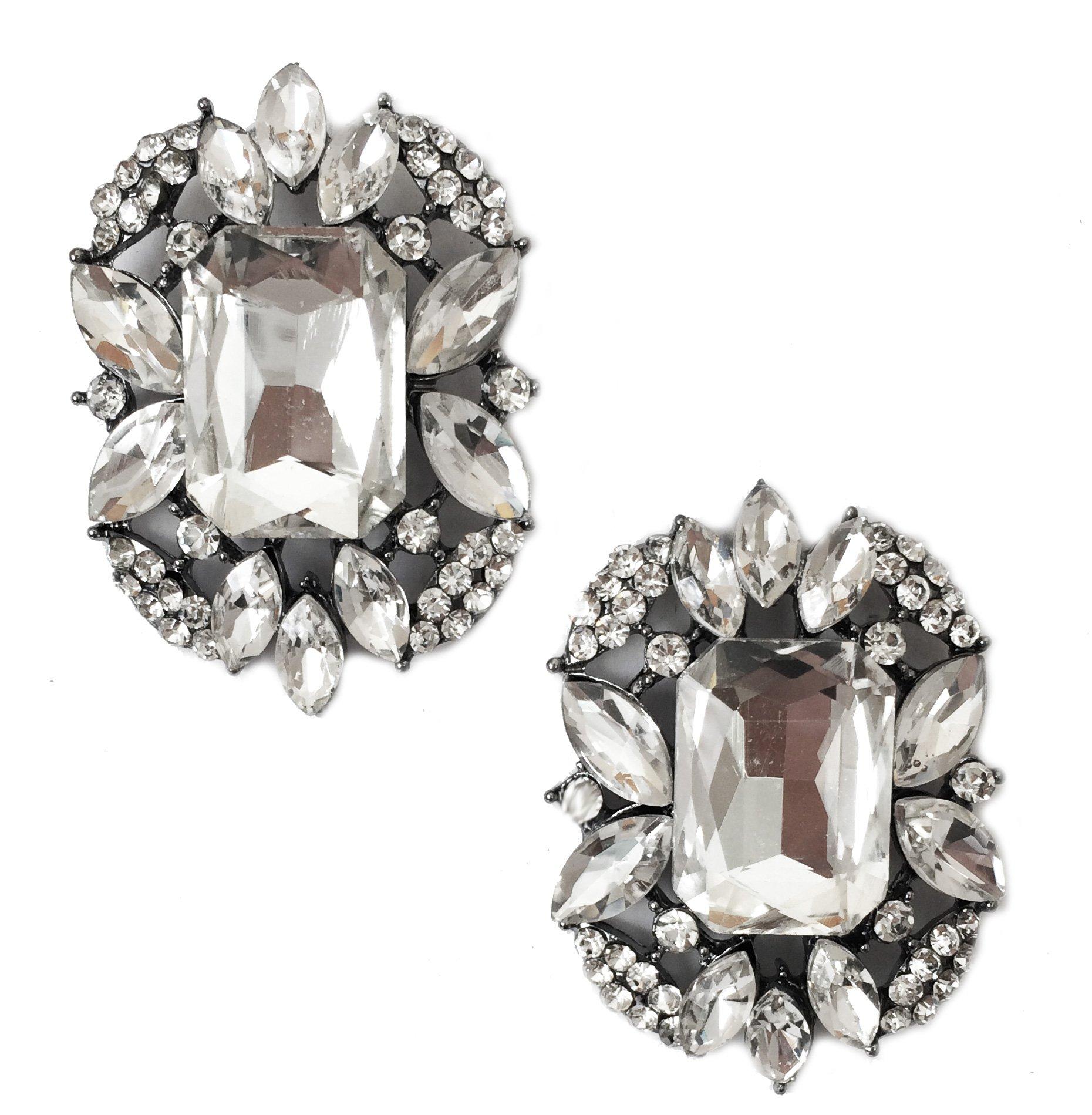 Art Deco Antique Vintage Style Emerald Shape Rhinestone Wedding Bridal Prom Cluster Earrings