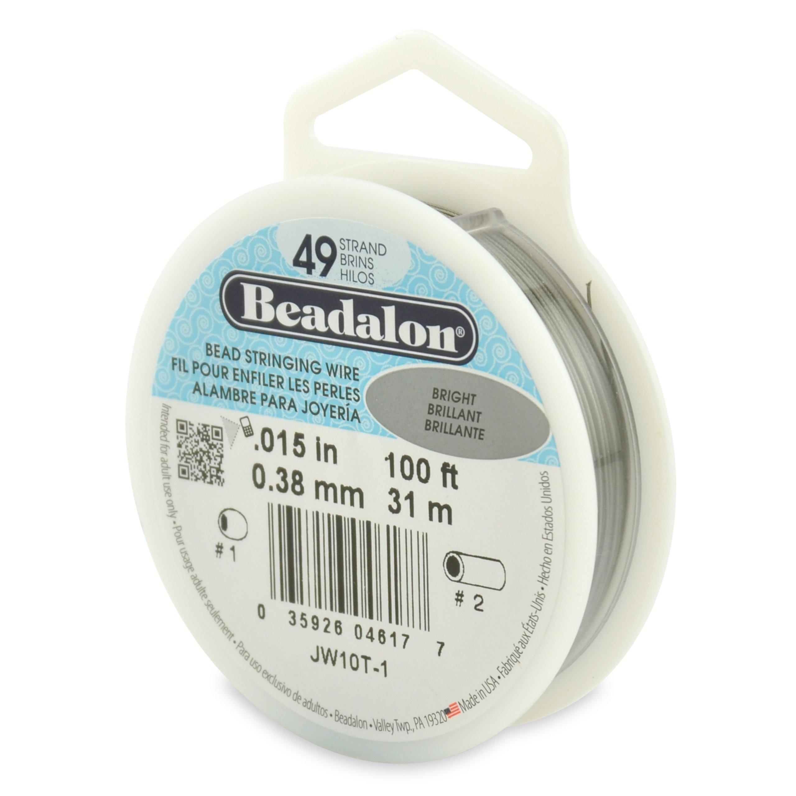 Beadalon 49-Strand 0.015'' (0.38 mm) 100 ft (30.5 m) Bright Bead Stringing Wire by Beadalon