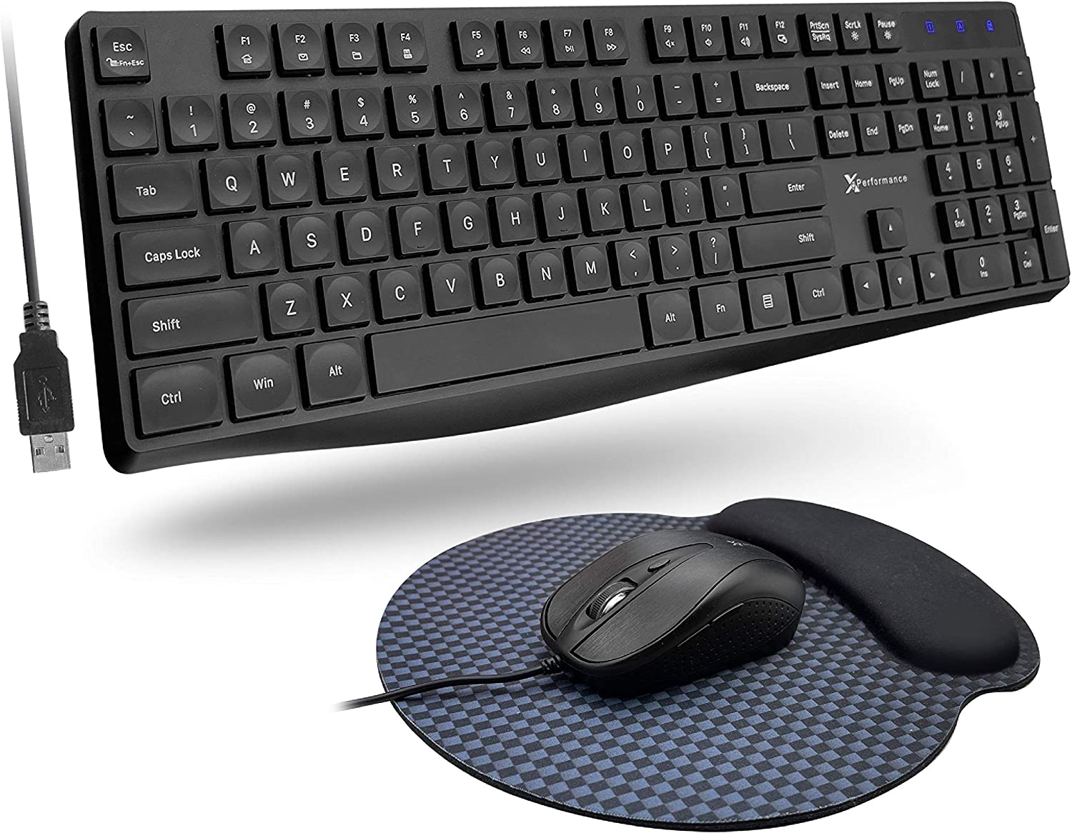 X9 Performance USB Wired Keyboard and Mouse Combo with Memory Foam Padded Mouse Pad - 104 Key Full Size Keyboard Mouse Combo with 5FT Cable for PC | Chrome - (4 DPI Modes) Optical Mouse Keyboard Combo