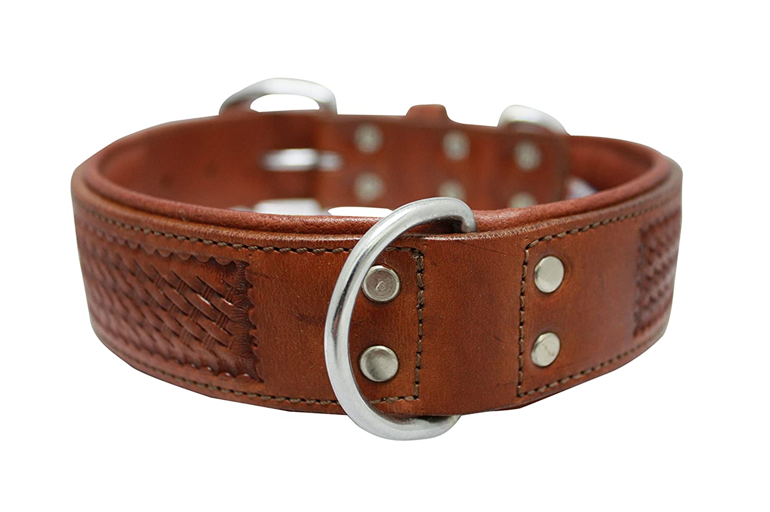Leather dog collar. 22  x 1.5 , Brown. Padded and Western basket tooled 100% silverinean cowhide. Stainless Steel. (SANTA FE) Necks  16.5 -20