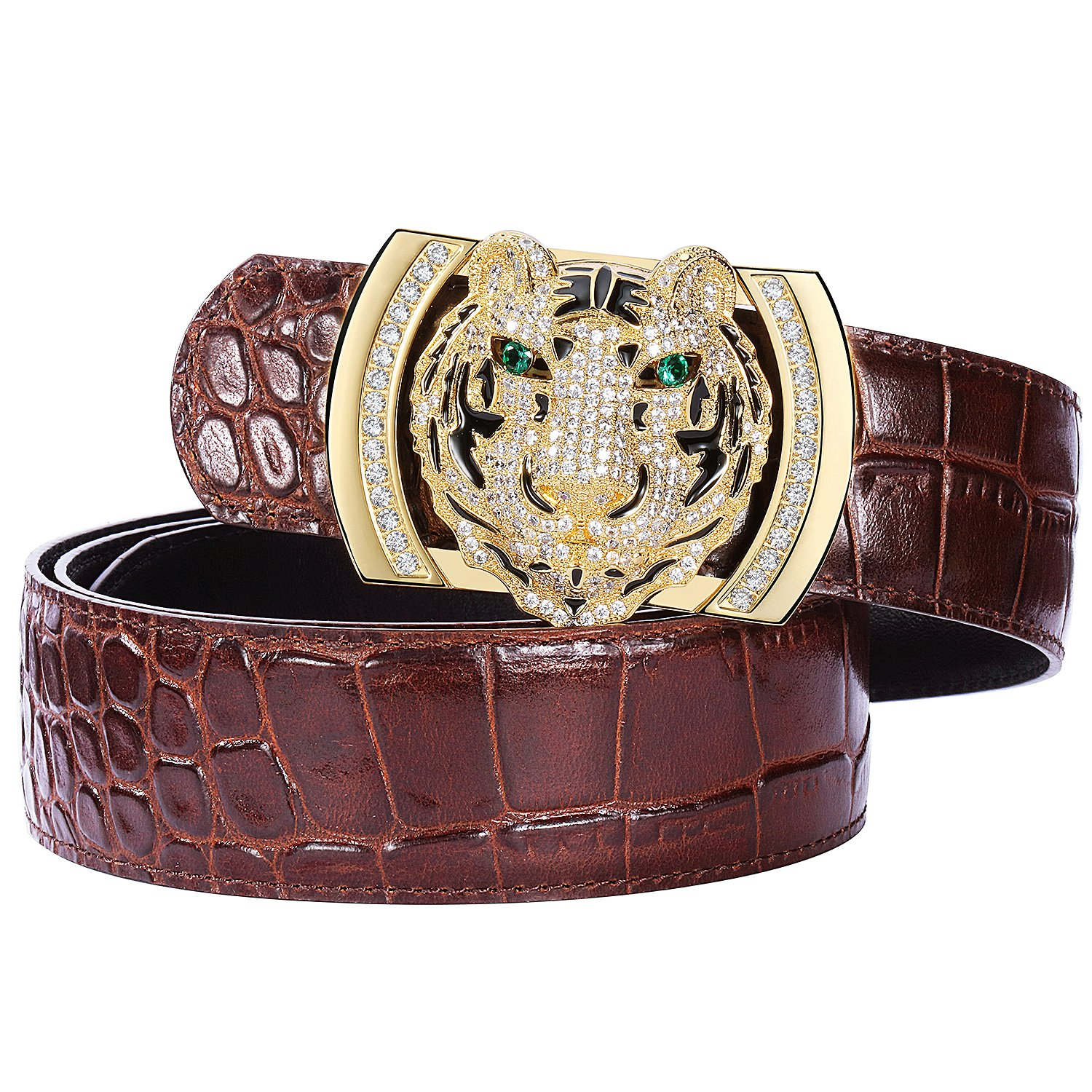 Men's Belts Luxury Genuine Leather Brown Dress Belt for Men Alligator Pattern Tiger Plaque Buckle