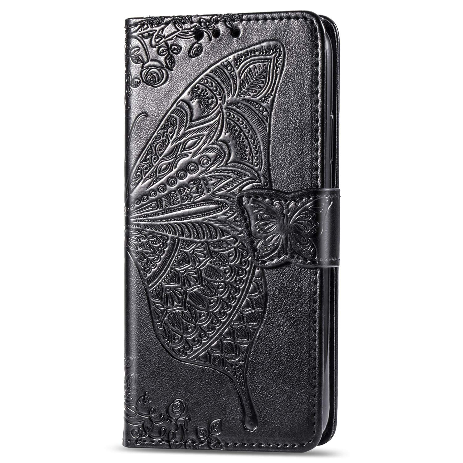 Veapero Samsung Galaxy A70 Case,PU Leather Flip Case Notebook Wallet Cover Embossed Butterfly with Magnetic Stand Card Holder ID Slots Soft TPU Bumper Protective Skin,Gray