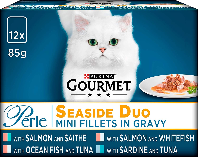 Purina Gourmet Perle húmedo Cat Food, Mini Filetes en salsa, Seaside Duo, paquete de 48 bolsas