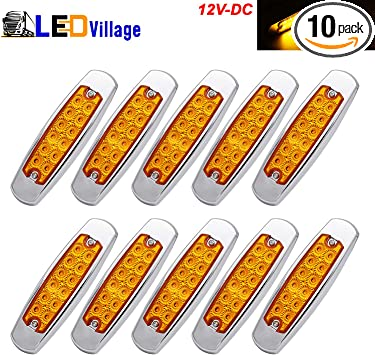 12 Pack Red 12 LED Side Marker Lamp Fish Shape Freightliner Truck Trailer Light