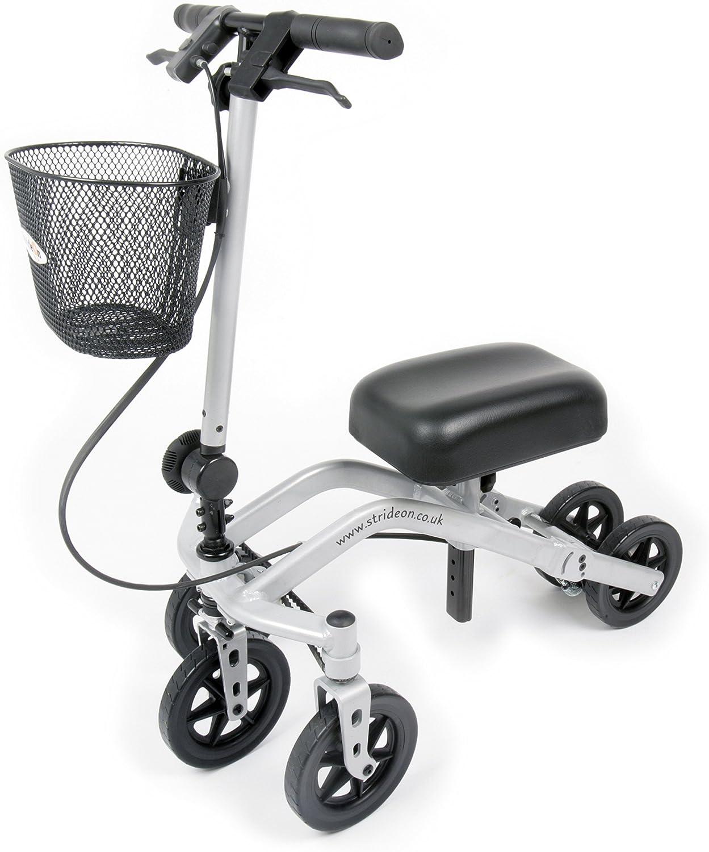 StrideOn Knee Walker alternativa a las muletas con canasta y rodillera extra gruesa con radio de giro y diseño estable de 5 ruedas plegable para lesiones que no soportan peso debajo de la rodilla.