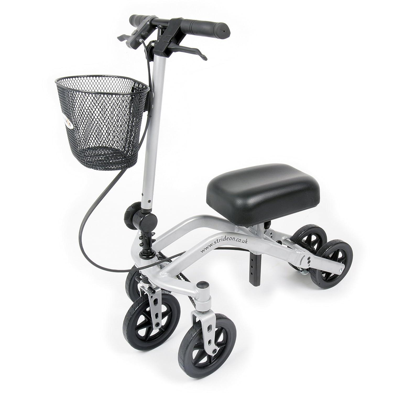 StrideOn Knee Walker alternativa a las muletas con canasta y rodillera extra gruesa con radio de giro y diseño estable de 5 ruedas plegable para ...