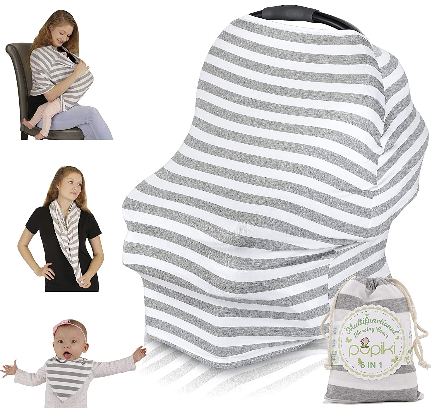 Stretchy Grey /& White Weatherproof Nursing Scarf Car Seat Cover /& Stroller Canopy Secure Breastfeeding Cover Matching Breastfeeding Bag /& Bandana Bib by Pupiki Multipurpose Nursing Cover Soft
