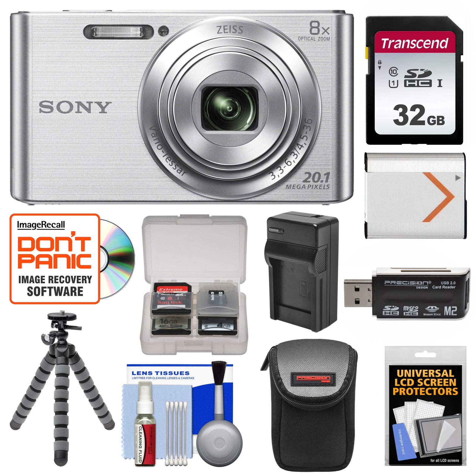 Sony Cyber-Shot DSC-W830 Digital Camera (Silver) with 32GB Card + Case + Battery & Charger + Flex Tripod + Accessory Kit by Sony