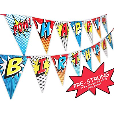 POP parties Ink Superhero Pre-Strung Happy Birthday Banner Pennant - Superhero Party Supplies - Superhero Decorations - Red: Toys & Games