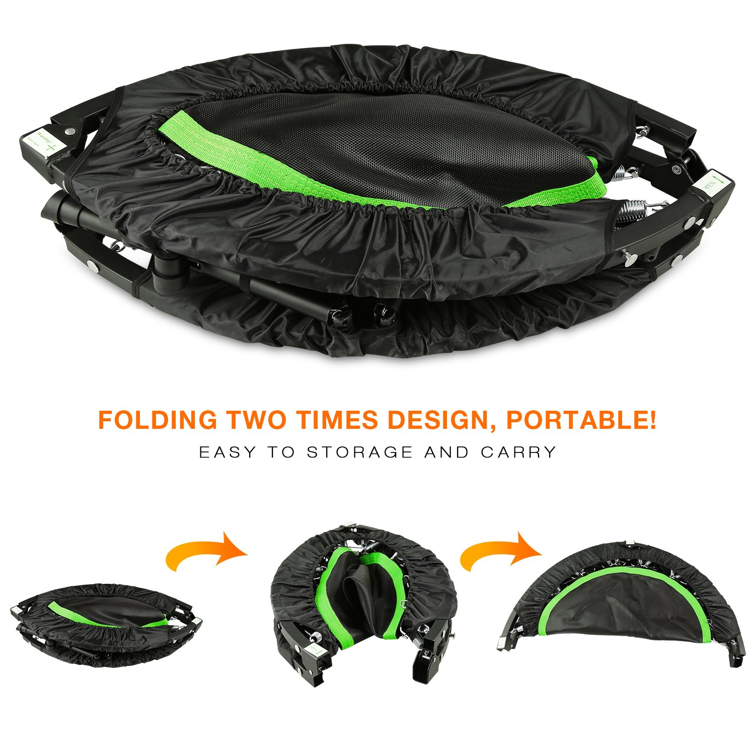 ANCHEER Foldable 40'' Mini Trampoline Rebounder, Max Load 300lbs Rebounder Trampoline Exercise Fitness Trampoline for Indoor/Garden/Workout Cardio by ANCHEER (Image #5)