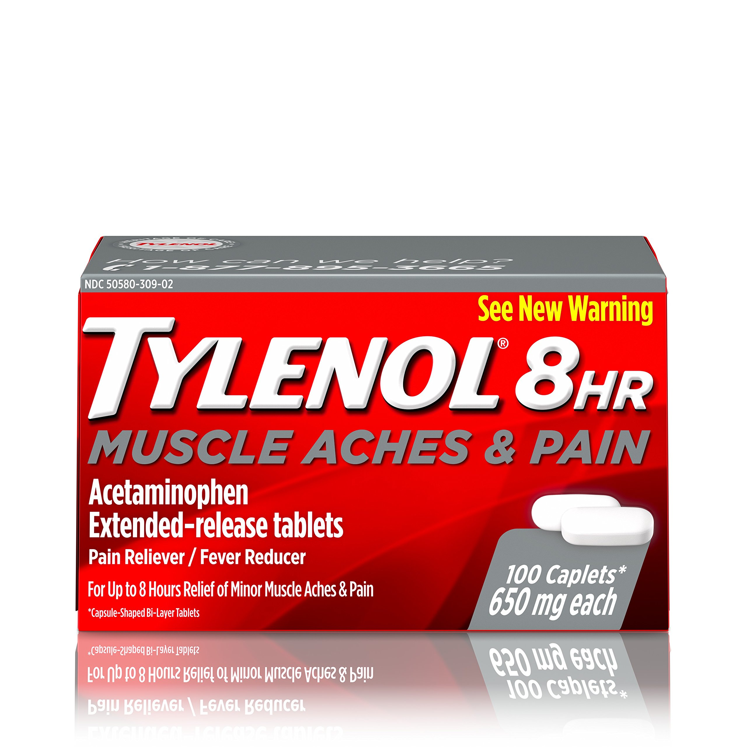Tylenol 8 HR Muscle Aches & Pain, Pain Relief from Aches and Pain, 650 mg, 100 ct.