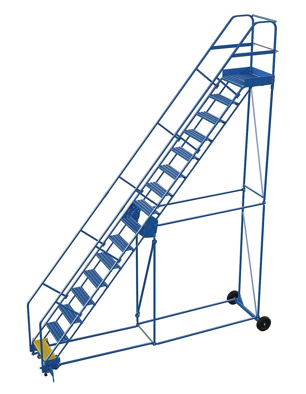 Vestil LAD-16-21-G-EZ - Escalera para almacén, 50 grados, agarre, 16 peldaños, 53,3 cm, color azul: Amazon.es: Amazon.es