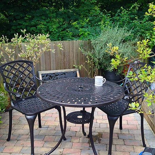 Lazy Susan - Mesa redonda 90 cm MIA y 2 sillas de jardín ...