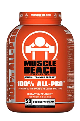 Muscle Beach Nutrition 100 All-Pro Advanced Tri-Phase Release Protein Cookies N Cream, 4lb Whey Protein Isolate, Micellar Casein, Whey Protein Concentrate