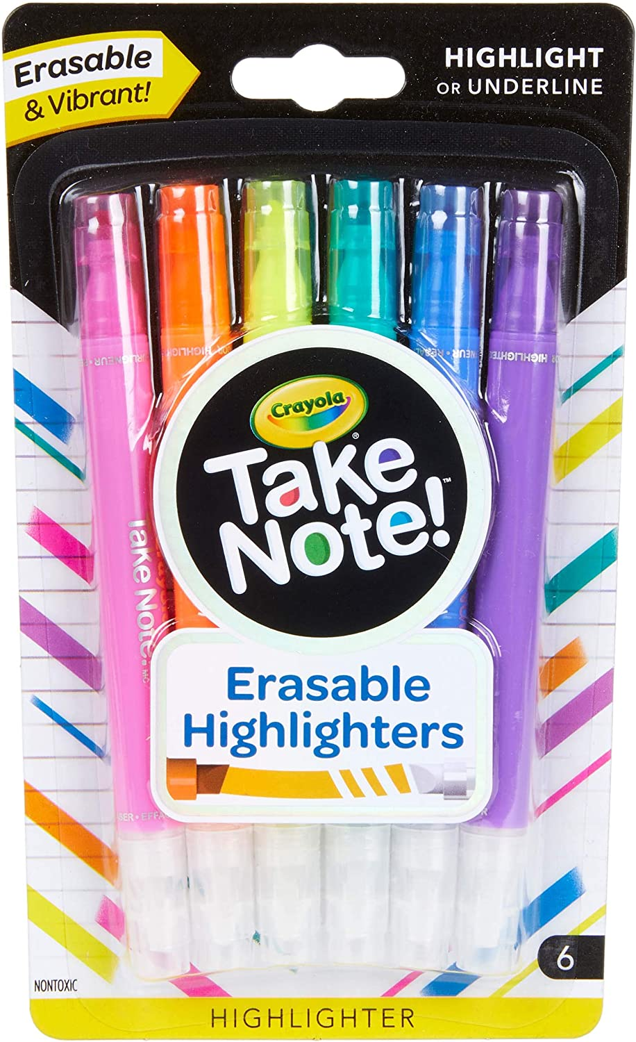 Crayola Take Note Erasable Highlighters, Teen Stocking Stuffers, Chisel Tip Markers, 6 Count