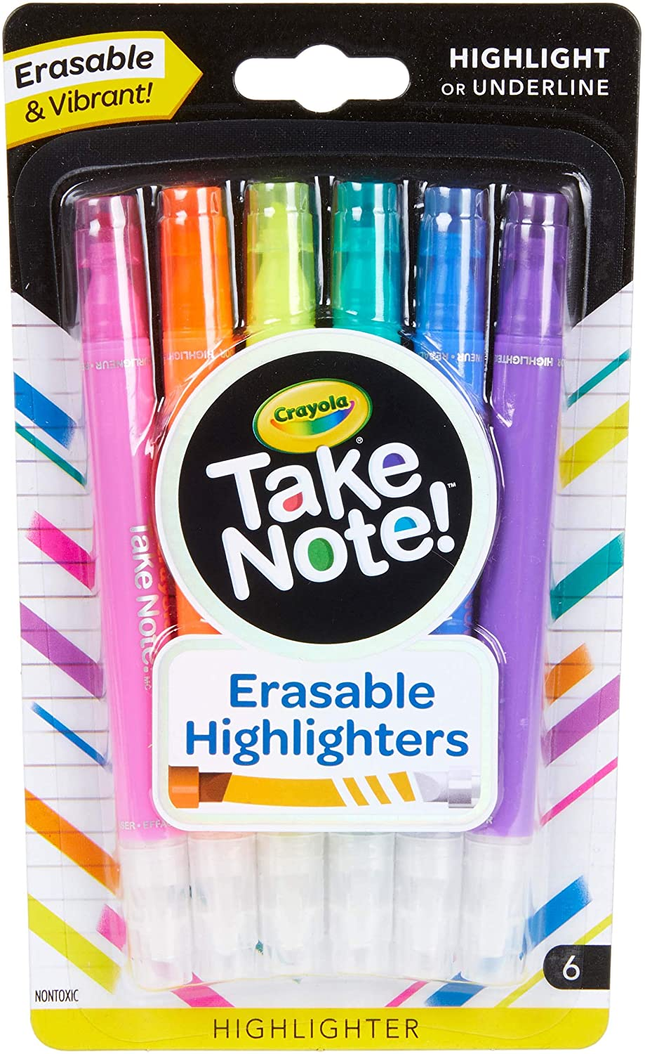 Crayola Take Note Erasable Highlighters, Cool School Supplies, Chisel Tip Markers, 6 Count: Toys & Games