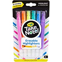 Crayola Erasable Highlighter Crayola Take Note! Erasable Highlighter Markers, 6 Count, Great for Highlighting Textbooks…