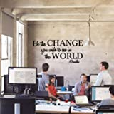"""Vinyl Wall Decal Sticker - Be The Change You Wish to See in The World - Inspirational Gandhi Quote - Living Room Wall Art Decor - Motivational Work Quote Peel and Stick (13"""" x 28"""", Black)"""