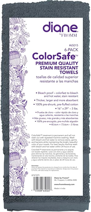 Diane Fromm Color Safe Premium Quality Stain Resistant Towels 16 inch by 29 inch 6 pack