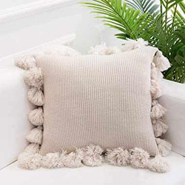 """famibay Knitted Pillow Covers with Pompoms Tassel Boho Striped Cable Knit Throw Pillow Cases Decorative Pillow Cushion Cover Set for Home Sofa Couch Bed 18"""" x 18"""" Beige"""