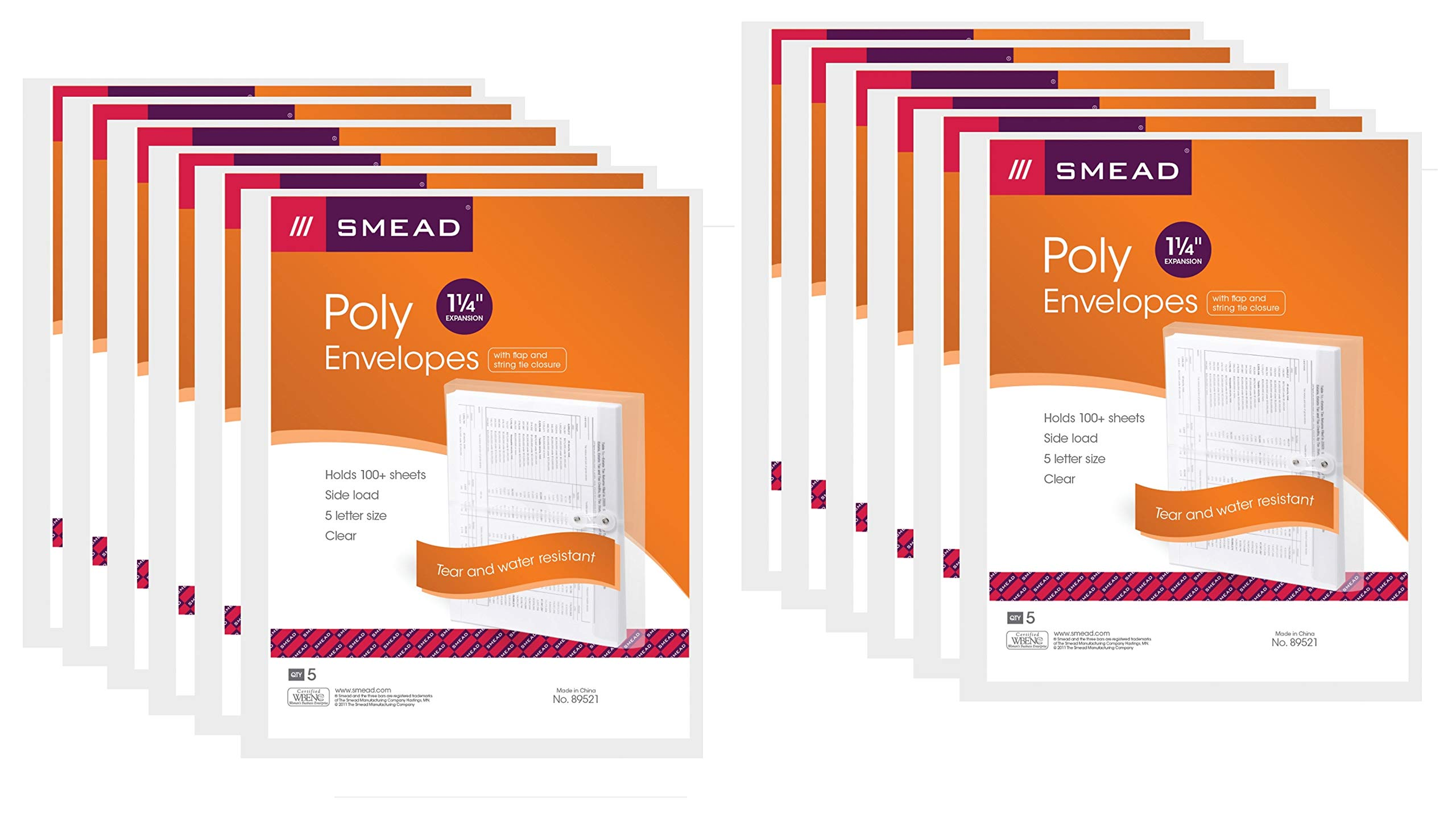 Smead Poly Envelope, 1-1/4'' Expansion, String-Tie Closure, Side Load, Letter Size, Clear, 5 per Pack, 12 Pack, 60 Envelopes Total (89521) by Smead