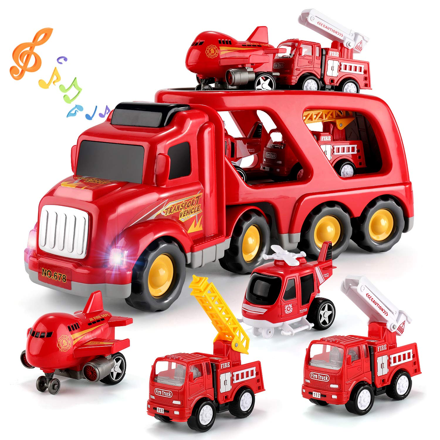 TEMI Fire Truck Engine Vehicle Toy Set, 5-in-1 Friction Power Carrier Truck, Push and Go Play Vehicles Toys w/ Extendable Emergency Fire Lifting Truck/Ladder Truck/Helicopter/Plane