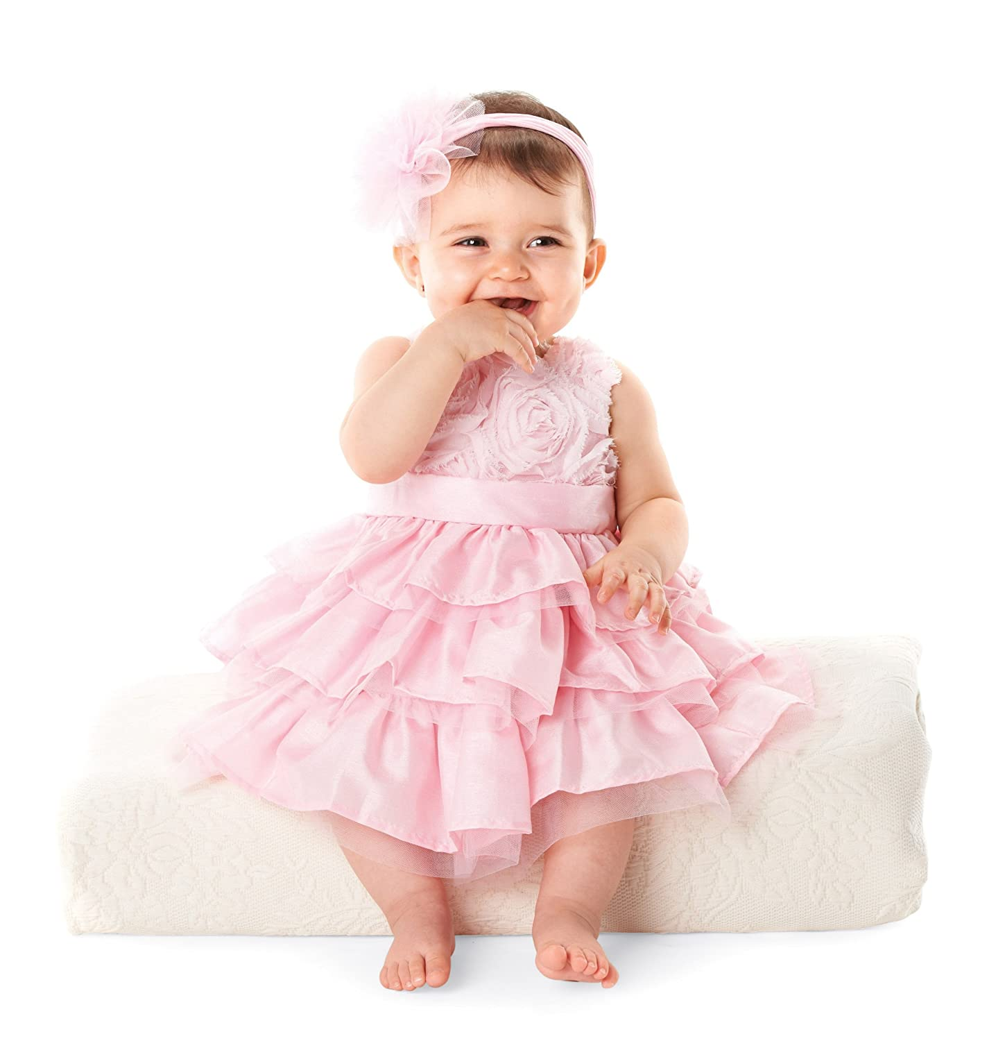 Amazon.com: Mud Pie Baby Girls\' Rosette Layered Dress, Pink, 0 6 ...