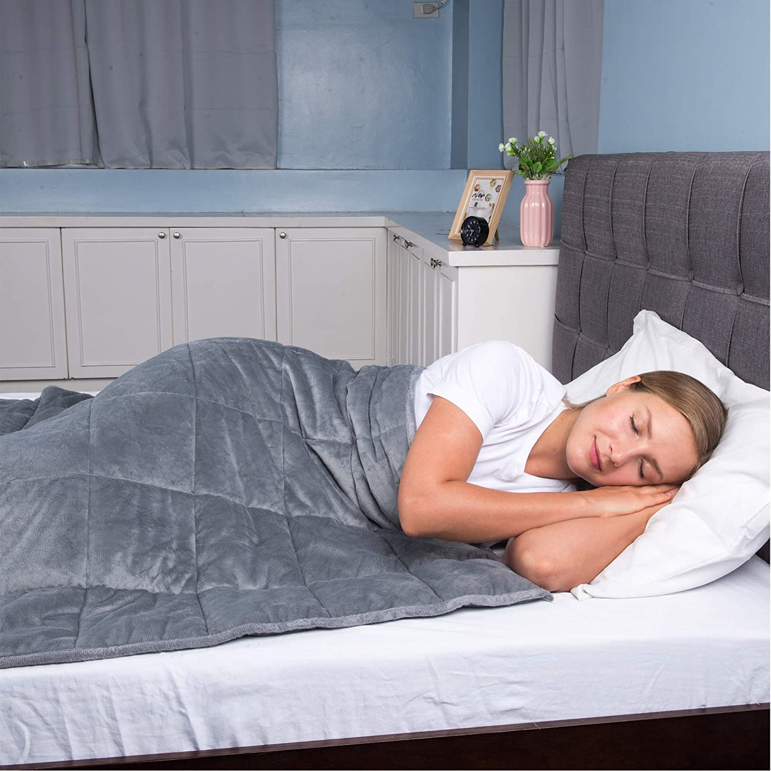 """Franco Sleep Therapy Super Soft Premium Quality Adult Weighted Blanket, 60"""" x 80"""" – 15 lbs, A-Grey"""