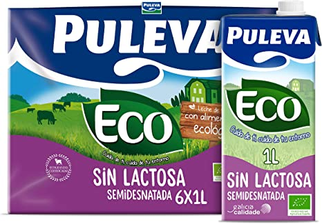 Puleva ECO Leche Ecológica Semidesnatada sin Lactosa 6 x 1Lt: Amazon.es: Alimentación y bebidas