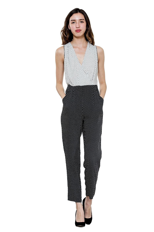 Polka Dot harlyn Women's Sleeveless Faux Wrap VNeck Black & White Polka Dot Jumpsuit.