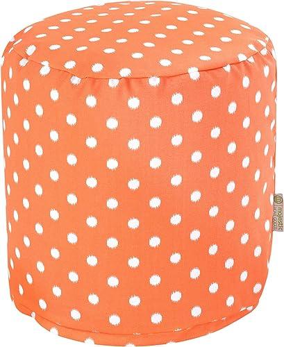 Majestic Home Goods Orange Ikat Dot Indoor/Outdoor Bean Bag Ottoman Pouf 16″ L x 16″ W x 17″ H