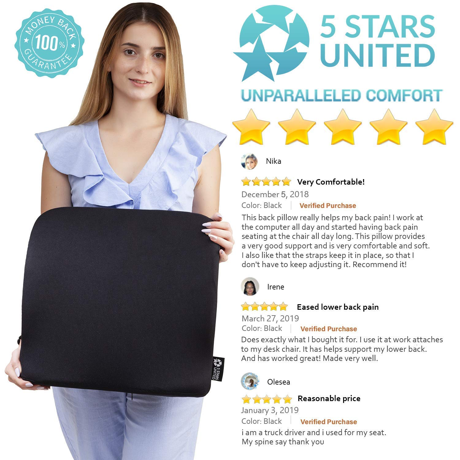 Back Lumbar Support for Office Chair  Large Pillow for Lower Back Pain  Full Posture Corrector for