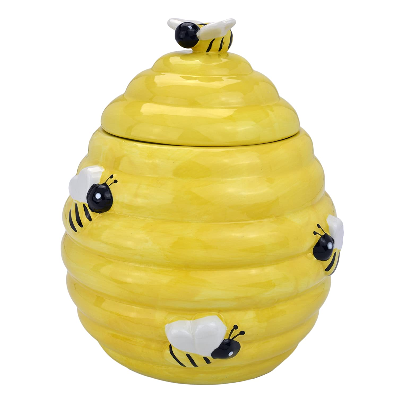 Amazon MyGift Decorative Yellow Beehive Design Ceramic Cookie Jar W Bee Handle Lid Kitchen Dining
